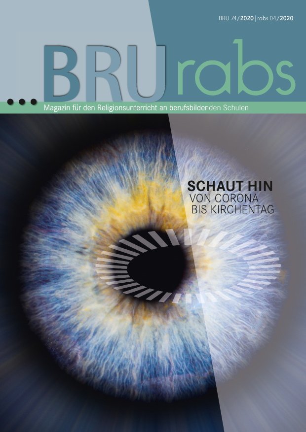 -magazin und rabs, Schaut hin. Von Corona bis Kirchentag, Titelbild mit Auge und ÖKT-Symbol